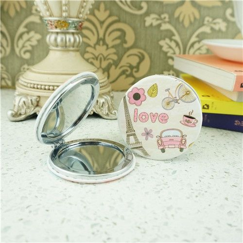 Pocket mirror / tourist souvenir compact mirror/folding vanity mirror This printing design compact mirror is a perfect gift for lady. It is covered with blue PU leather and decorated with printing pattern.