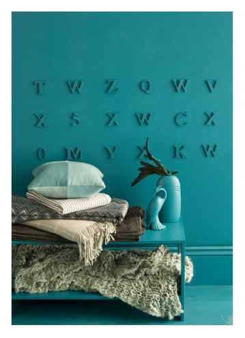in relief  Spell out words like Sea, Ocean, Beach, Waves...around the room and paint along with wall... love it.