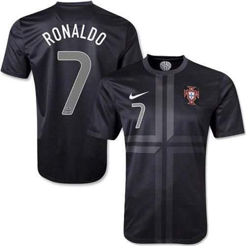 Portugal 7 Cristiano Ronaldo Black Away Soccer Country