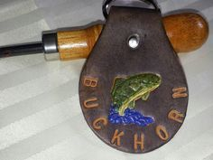 Key Fob for the fisherman. Sturdy and can be customized. 2-1/8 in. x 4 in. which includes the sturdy ring .  It can hold many keys. Can be  customized. $15.00
