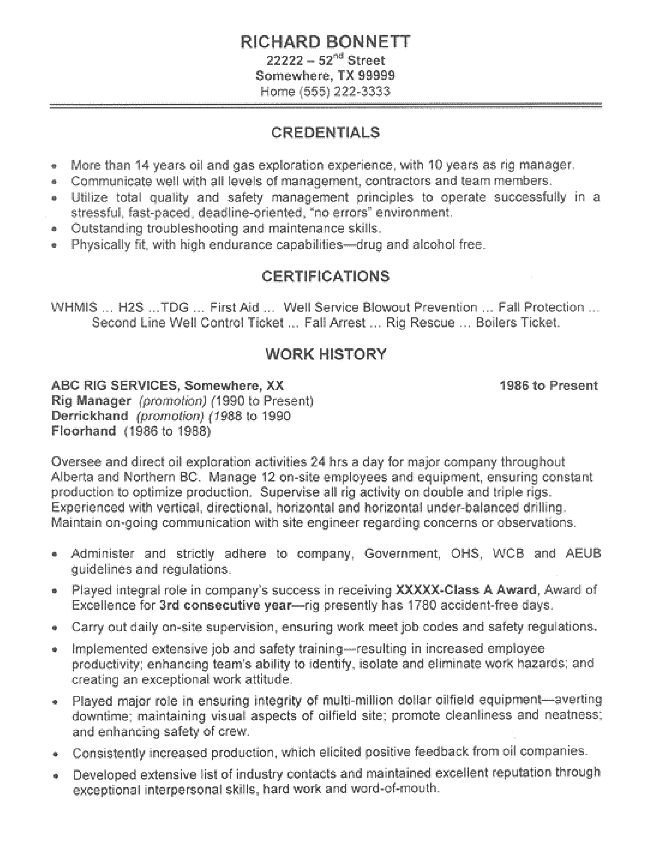This oil rig manager resume was created for a client with 15 years