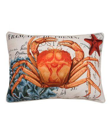 Look at this #zulilyfind! French-Inspired Coastal Crab Throw Pillow #zulilyfinds