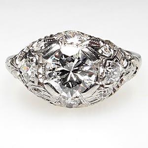 1930S ANTIQUE TRANSITIONAL CUT DIAMOND ENGAGEMENT RING SOLID PLATINUM FILIGREE