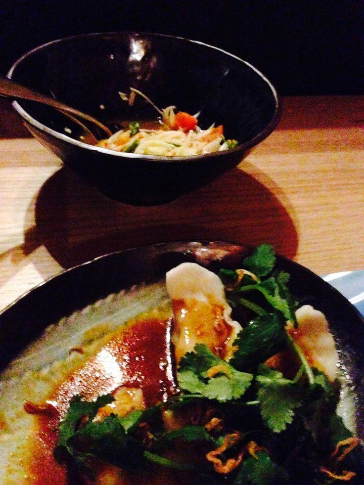 Peking Duck Dumplings and Green Papaya salad. Lucy Liu