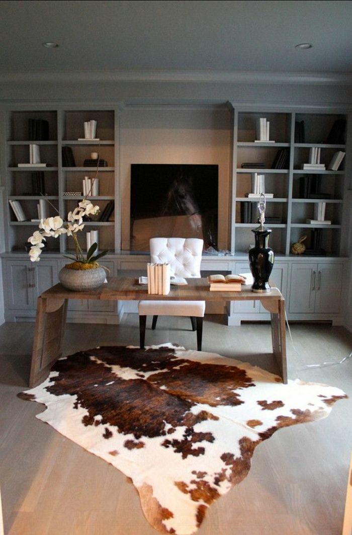 tapis en peau de bete salon moderne tv console led noir tapis en peau de bete salon. Black Bedroom Furniture Sets. Home Design Ideas