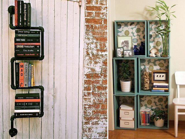 diybookshelves3 by apairandaspare, via FlickrBookshelf Design, Diy Bookshelf, Pipe Bookshelf, Diy Bookshelves, Bookstand Ideas, Bathroom Ideas, Pipe Bookshelves, Crafts, Crates Bookshelves