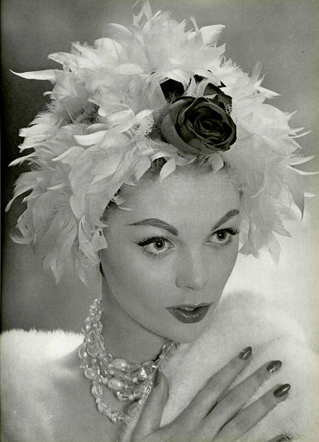 1958 rose and feathers hat.