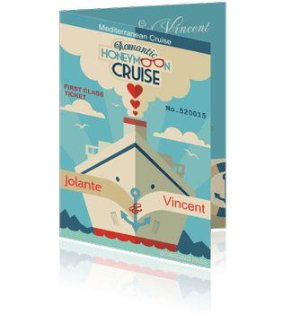 Originele trouwkaarten met een cruise schip of boot.