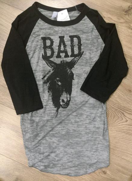 Cowgirl Tuff Ladies' Black & Grey Burnout Raglan Long Sleeve Donkey Tee S00901