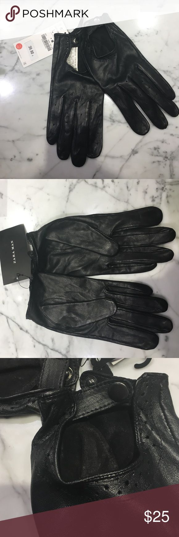 Kid leather driving gloves - Zara Man Driving Gloves Black Sheep Leather Driving Gloves Never Worn With Tags Zara