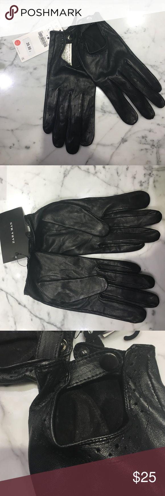 John varvatos leather driving gloves - Zara Man Driving Gloves Black Sheep Leather Driving Gloves Never Worn With Tags Zara