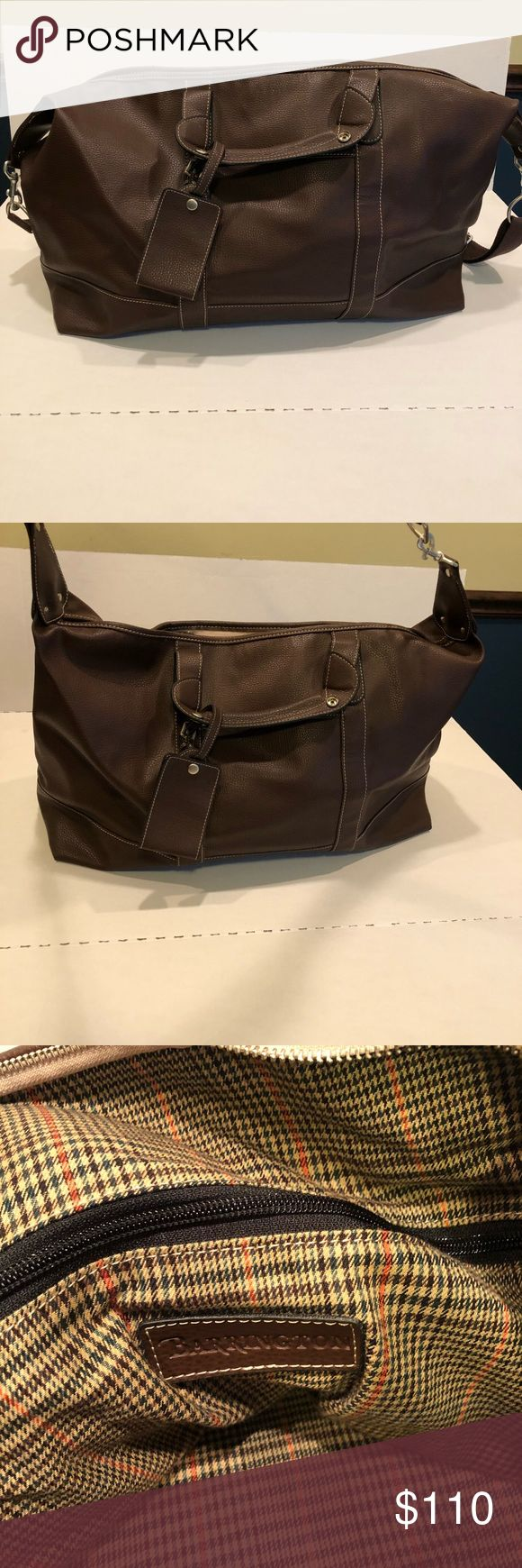 Large BARRINGTON brown leather tote bag duffle Like new! Never used!!! Beautiful large brown leather tote or duffle bag by BARRINGTON. Gorgeous bag!  Measurements in photos. barrington Bags Totes