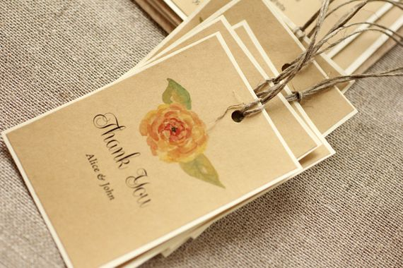 Rustic, Eco and watercolor flower twine favor tag - twine tag
