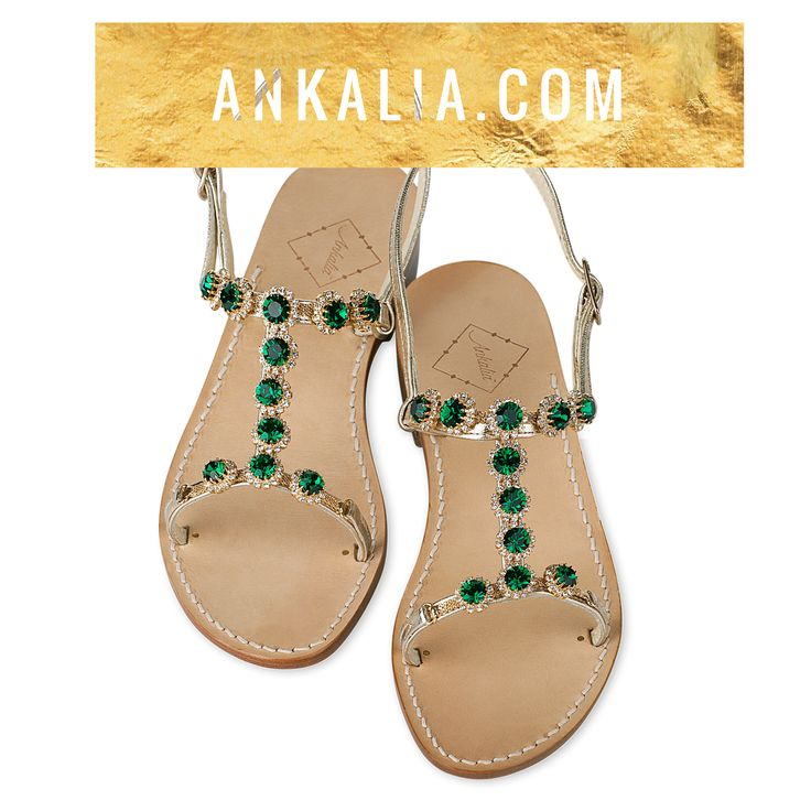 Terena sandals in gold leather with emerald green Swarovksi crystals. Available in flats or with a little 2cm heel. Worldwide shipping.