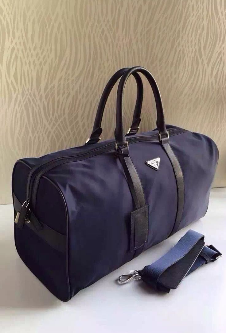 Navy Blue Prada Tessuto Saffiano Travel Bag sale at USD 299. Free ...