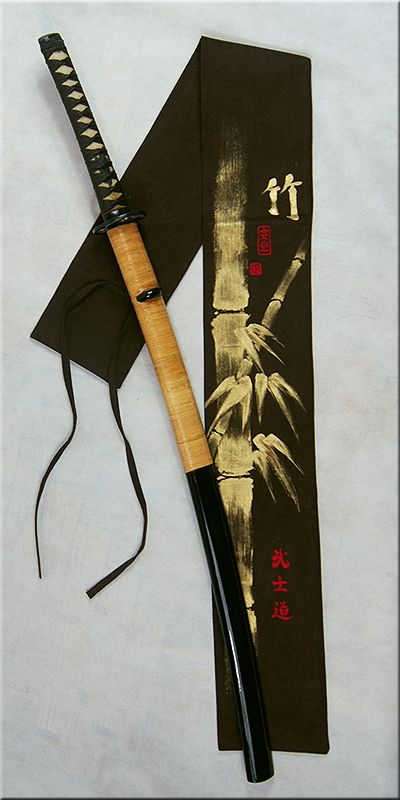 Unique hand painted suede sword bag. Warm chockolate brown with gold bamboo painting (it is not a print).
