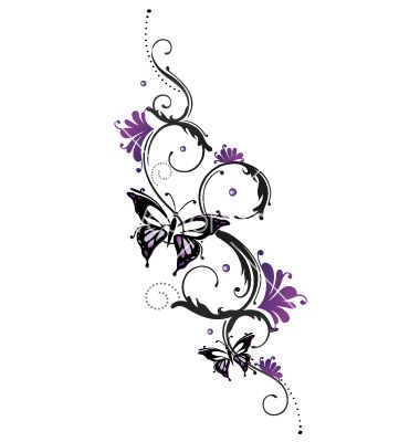 Tribal flower butterfly tattoo style vector 1534748 - by christine-krahl on VectorStock®