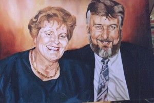 Linda's mum and dad.  70Cm X 90Cm. Oil On Primed Board, Phillip Carrero.