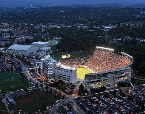 Billed as the toughest place in college football for opponents to play by Rivals.com, Lane Stadium seats 66,233.