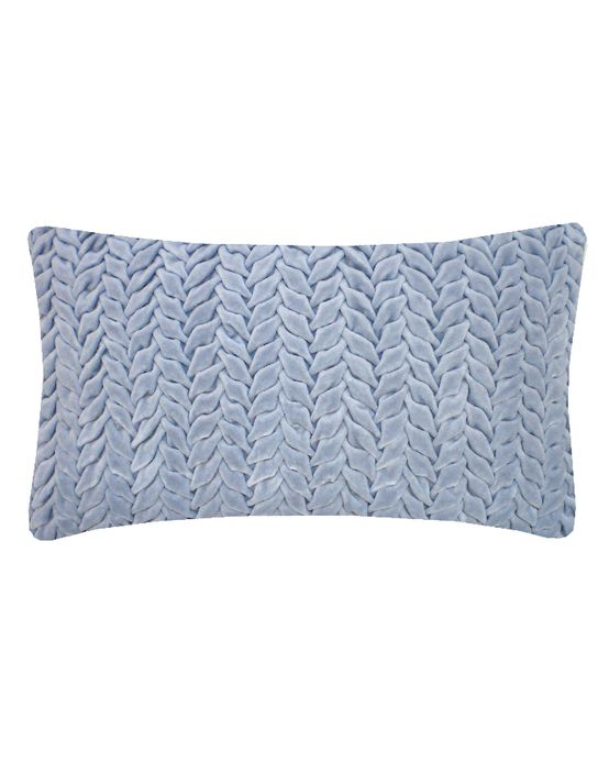 Design Trends 2013: Pastel - ELLE DECOR - Hand Smocked Leaf Cotton Velvet Cushion in Duck Blue - Nitin Goyal