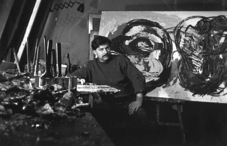 1958. Karel Appel dans son atelier de la rue Brézin, Paris, foto: Daniel Frasnay