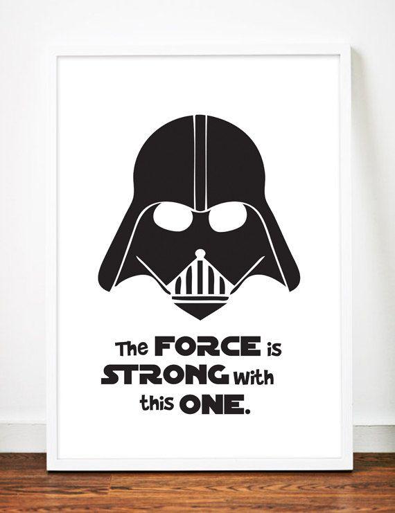 Darth Vader Star Wars Digital Print Black and White by sandybanner