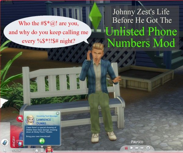 Mod The Sims Unlisted Phone Numbers By Scumbumbo Sims 4 Downloads Sims Sims 4 Unlisted