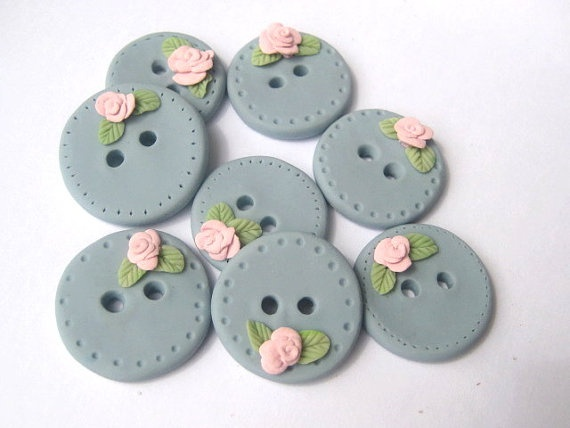 Blush Blossom  Country blue polymer clay buttons by DollyMadison, $15.00