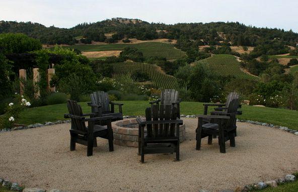 Adirondack Style Chairs around Firepit