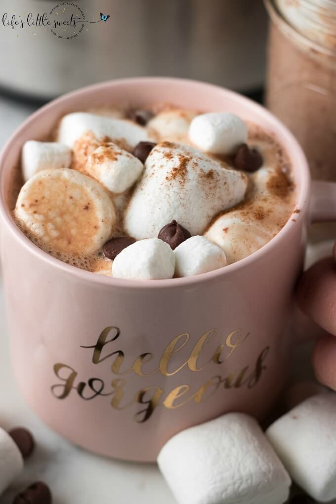 Slow Cooker Hot Chocolate Recipe on SoFabFood - This Slow Cooker Hot Chocolate recipe is creamy, dreamy, chocolate-y, and perfect for sharing with family and friends. Customize a mug by topping it with marshmallows, cinnamon, whipped cream, or chocolate candies! #ad #sofabfood #hotchocolate #marshmallows