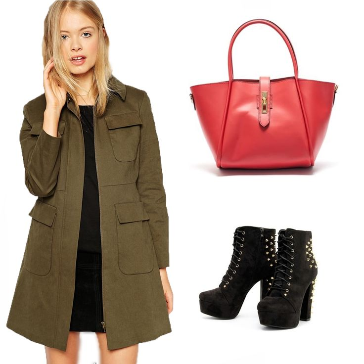 #OOTD: You have a kaki coat? It's perfect with this #Mangotti red bag!
