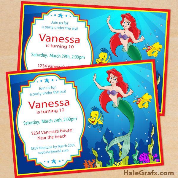 free little mermaid invite {FREE} Printable Disney Little Mermaid Birthday Invitation