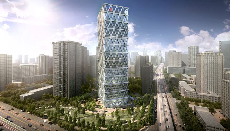 Zhong Hong Tower creates an iconic landmark at the gateway to Beijing's Central Business District. The 180-meter-tall office building sits at the prominent intersection of East 4th Ring Road and Chaoyang Road, at the eastern edge of the SOM-designed