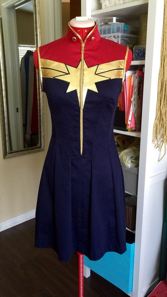 Captain Marvel Superhero Dress Costume. by delphina123 on Etsy