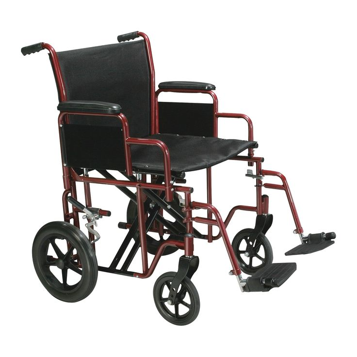 Drive Medical Bariatric Heavy Duty Transport Wheelchair with Swing Away Footrest, 20 Seat, Red