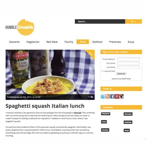 Good work @Humble Crumble with your Spaghetti squash italian lunch creation. We love it! #cooking #Italian #lunch #blogger