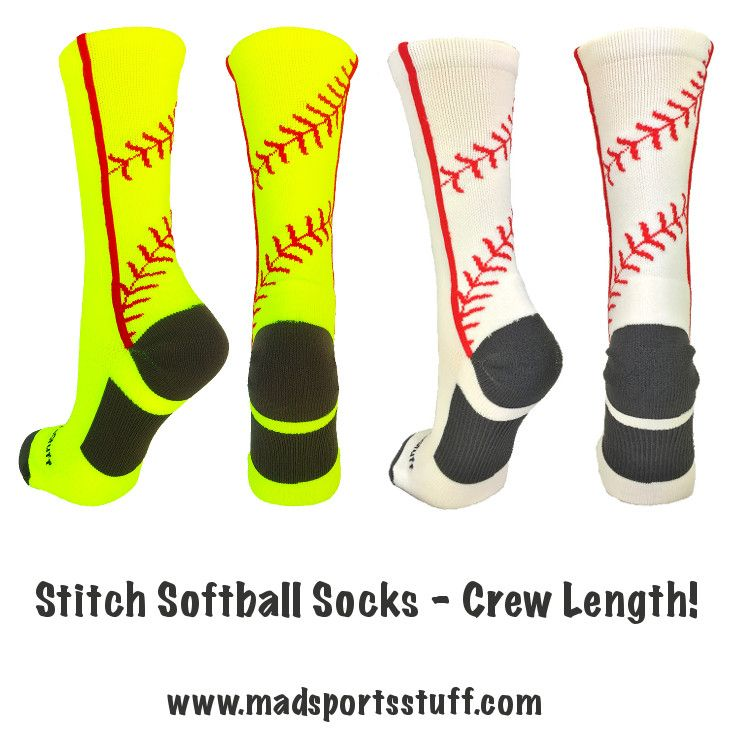 MadSportsStuff Stitch Softball Socks - now in crew length!  Perfect for softball, or baseball! #MadSportsStuff