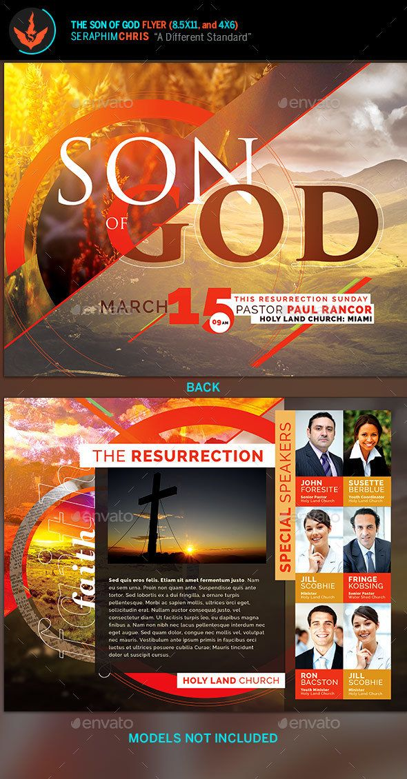 This Son of God flyer template is designed with a modern aesthetic to accentuate a vibrant theme.  This design uses warm color pallet that has a futuristic tone that's perfect for multiple types of events. If you need a great presentation when printed, then your investment will be well worth it with an affordable price. This layout that's easy to customize with Photoshop CS2 or higher. Download today! #flyertemplate #church #easter #resurrection #risen #churchflyertemplate