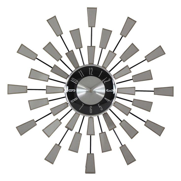 Aspire Levi Contemporary Mirror Wall Clock, Silver (Metal)
