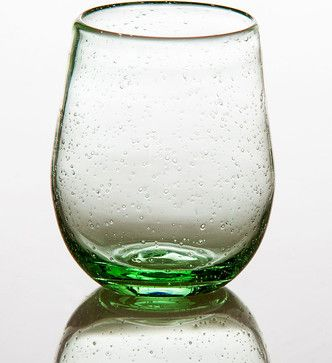 Stemless Wine Glass - Light Green - transitional - Wine Glasses - Bliss Home and Design