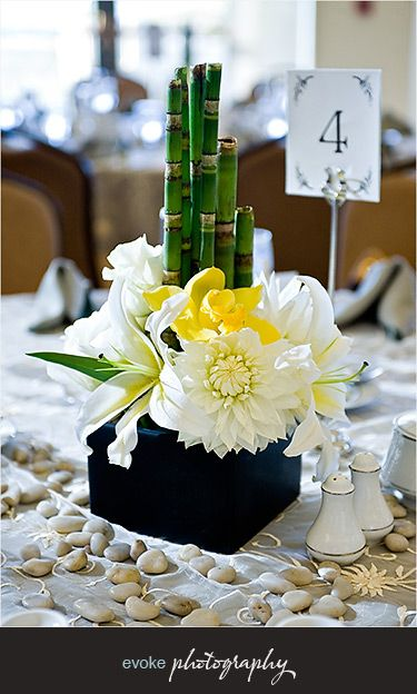 Lucky Bamboo Centerpiece.  Would be much cuter with Lucky Bamboo that has some growth on it.