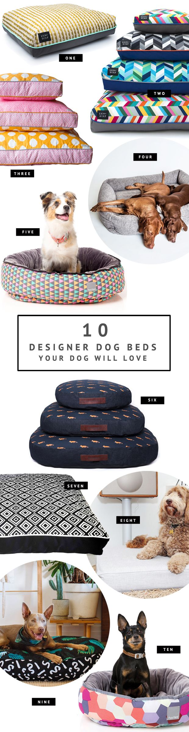 Looking for a dog bed? Browse the very best designer dog beds for every shape and size of dog. Find the perfect bed for your pooch with our handy guide.