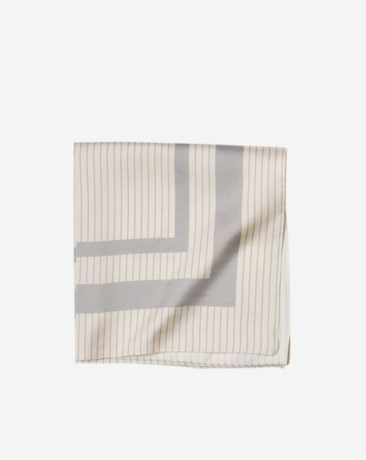 Filippa K inspiration - The look of now: Workwear blues  Classic neckerchief in beautifully soft silk with a striped print. Size 43 x 43 cm. Made in Italy from more sustainable silk.