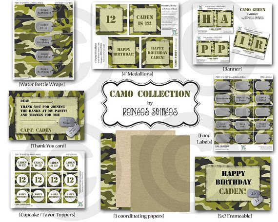 CAMO  MILITARY Birthday Party or Baby Shower  by ReneesSoirees, $25.00