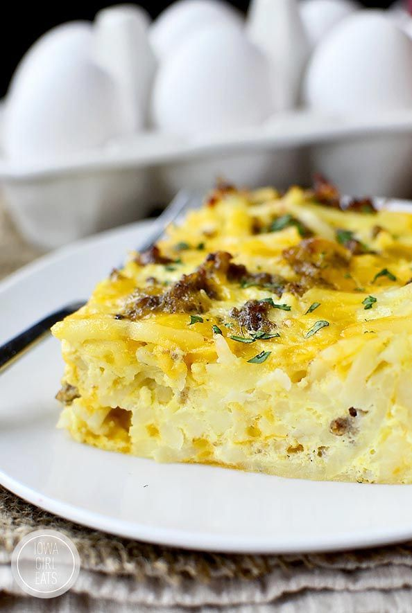Gluten-Free Breakfast Casserole is hearty and crowd-pleasing. Prepped in minutes then baked until golden brown and bubbly! #glutenfree | iowagirleats.com