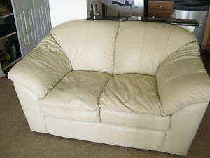 White Ivory Leather Sofa Set With Loveseat Couch And Overstuffed Chair Clean Furniture