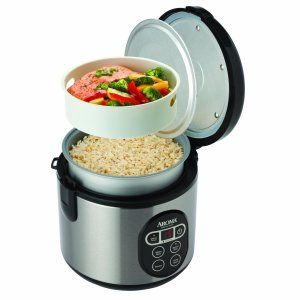 Rice with salmon and vegetables in Aroma digital rice cooker food steamer with steam tray
