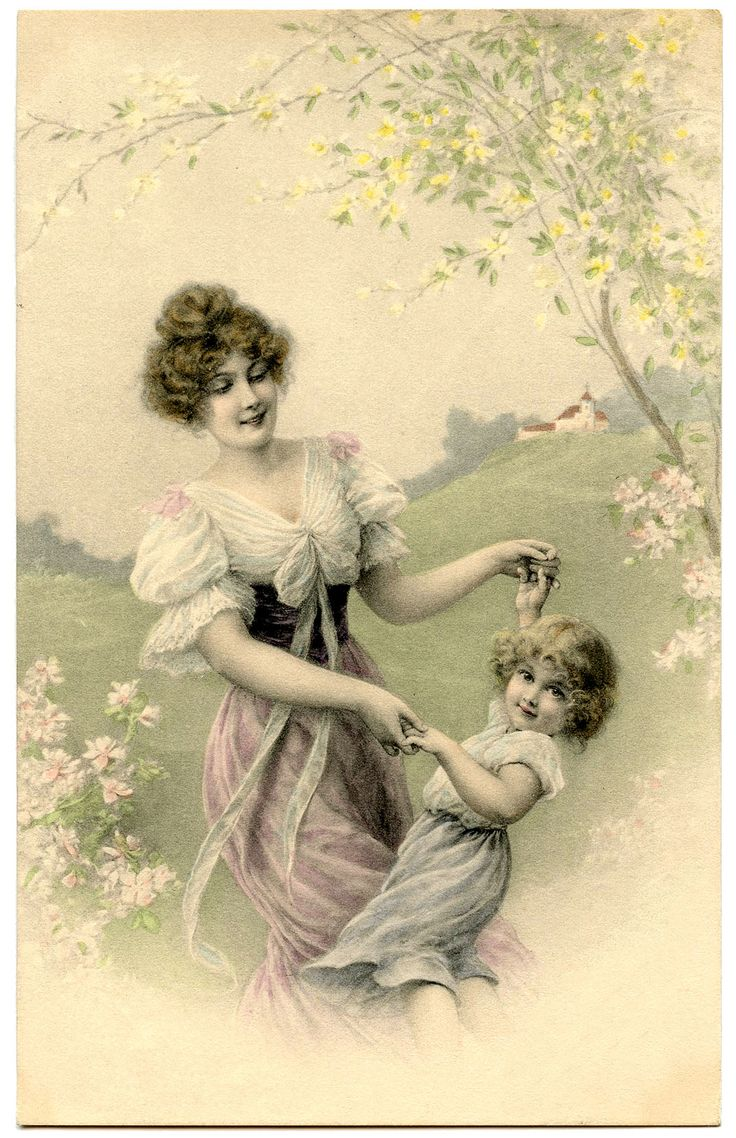 Днем рождения, красивая открытка мама и дочка