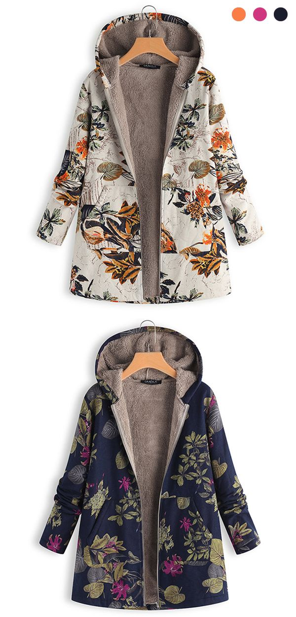 Womens Printed Floral Hooded Thicken Cotton Velvet Coat Loose Jacket Long Parka