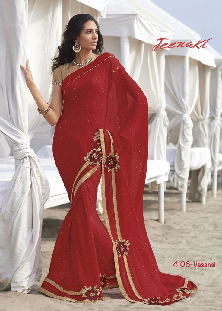 Red Georgette Beautiful Party Wear Saree With Fancy Fabric Blouse at Lalgulal.com To Order :- http://goo.gl/h4BkgR To Order you Call or Whatsapp us on +91-95121-50402 COD & Free Shipping Available only in India
